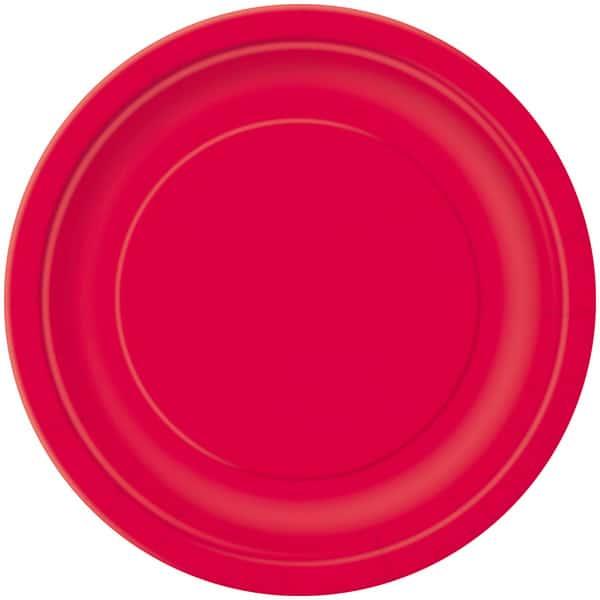 Platos De Papel Redondos Rojo Rubí 22Cm - Paquete De 16