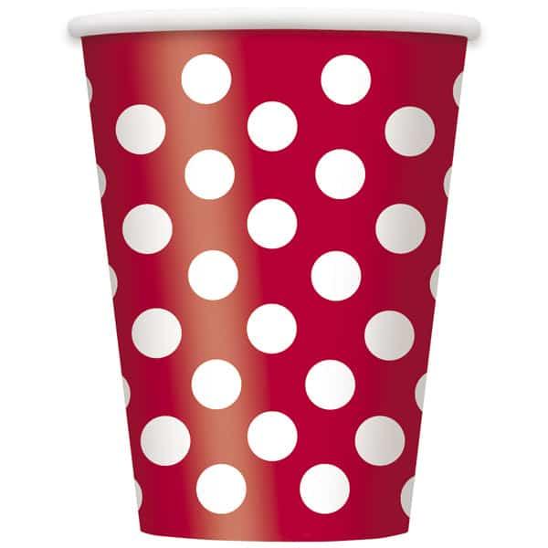 Rojo Rubí Puntos Decorativos Vaso De Papel 355Ml