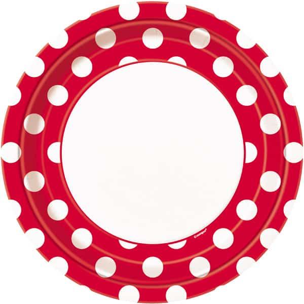Rojo Rubí Puntos Decorativos Plato de Papel 23cm - Unidad