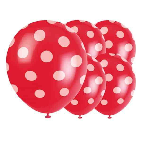 Globos De Látex Biodegradables De Puntos Decorativos Rojos Rubí - 12 Pulgadas / 30 Cm - Paquete De 6