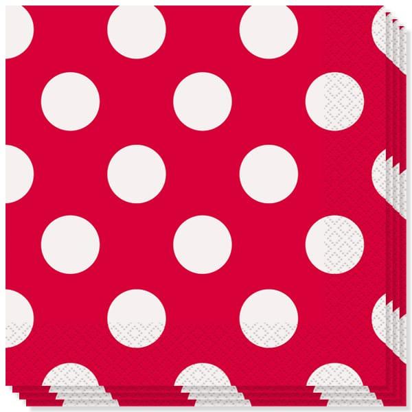 Rojo Rubí Puntos Decorativos Servilletas Almuerzo