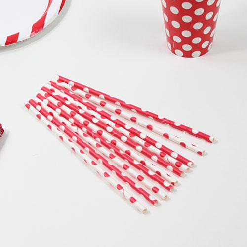 Rojo Rubí Puntos Decorativos Pajitas de Papel