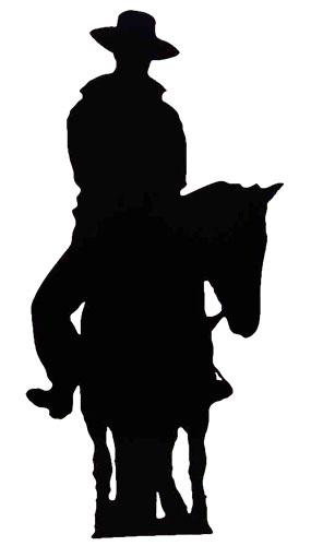 Vaquero en caballo Silhouette 188cm Tamaño real Figura de cartón