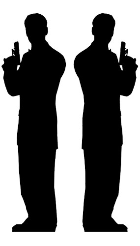 Silueta del 2 Hombres Edadntes Secretos - Autoportante a tamaño real