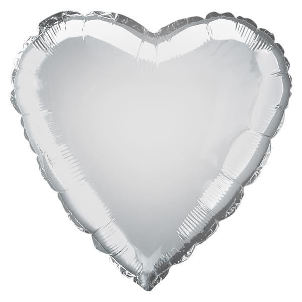 Globo Foil Corazón Plateado 45 cm