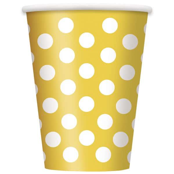 Amarillo Girasol Puntos Decorativos Vaso De Papel 355Ml