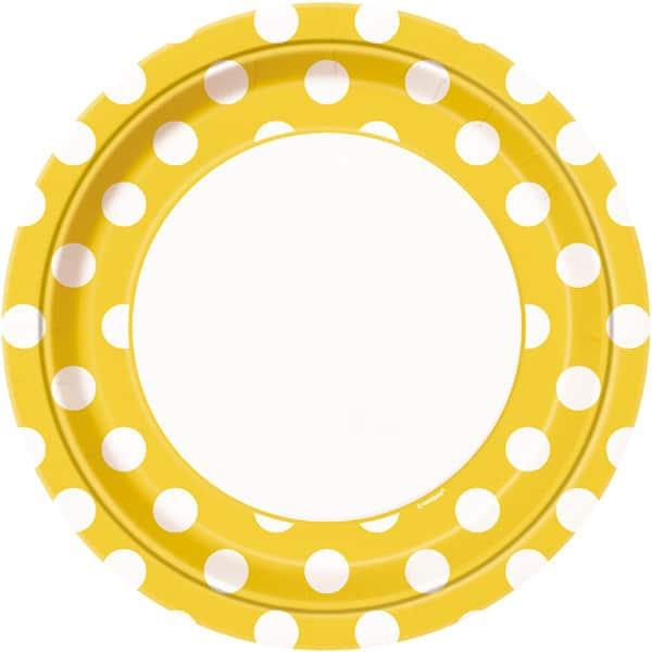 Girasol Amarillo Puntos Decorativos Plato de Papel 23cm - Unidad