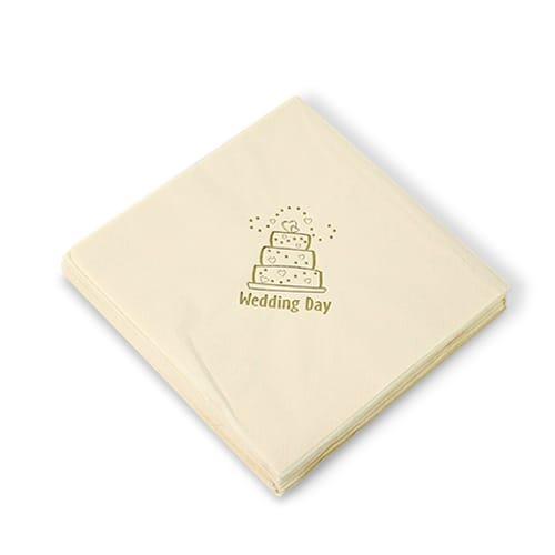 15 Servilletas Pastel de Bodas Color Marfil 40cm 3 capas