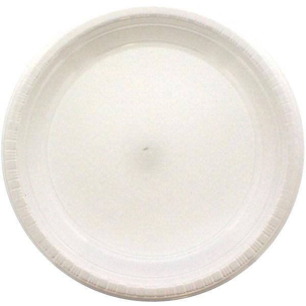 Platos Redondos De Plástico Blanco 23Cm - Paquete De 20