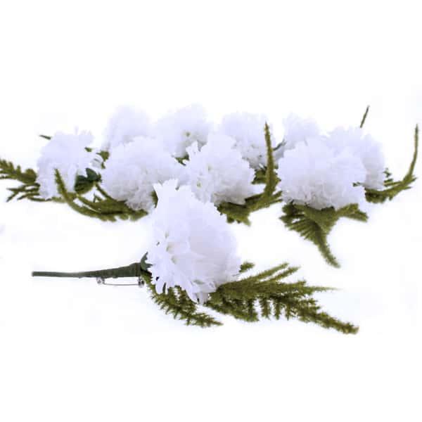 Ojal en Forma de Clavel Blanco - Paquete de 12