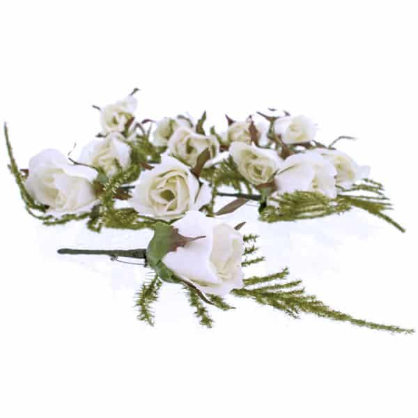 Ojal en forma de Rosa Blanca - Paquete de 12
