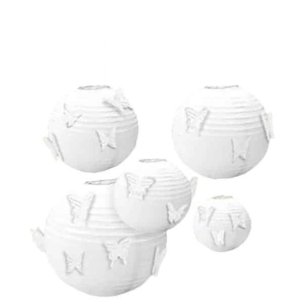 Blancas Colgantes Faroles de Papel con los Adjuntos Mariposas - Pack de 5
