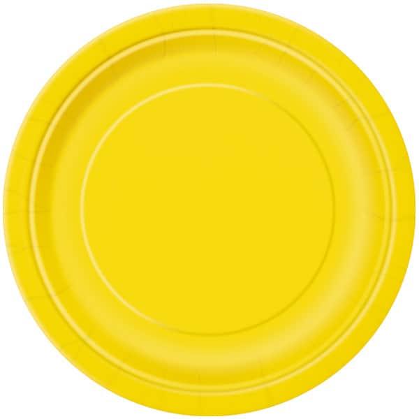 Plato De Papel Amarillo Redondo 22Cm