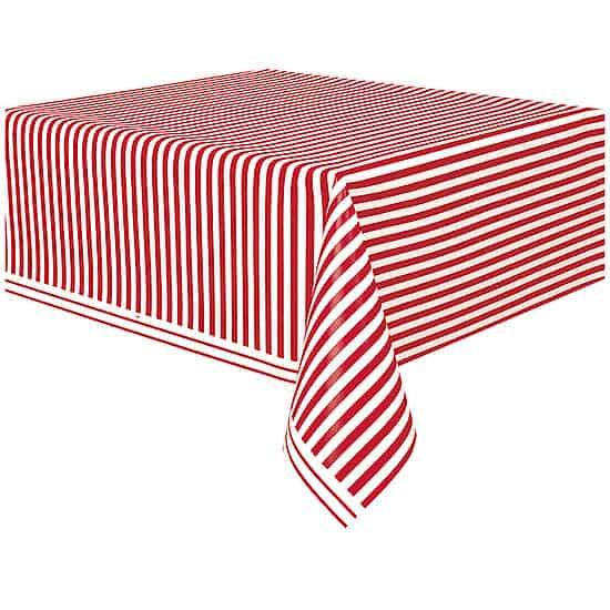Mantel De Plástico Rayas Rojas Y Blancas 274Cm X 137Cm