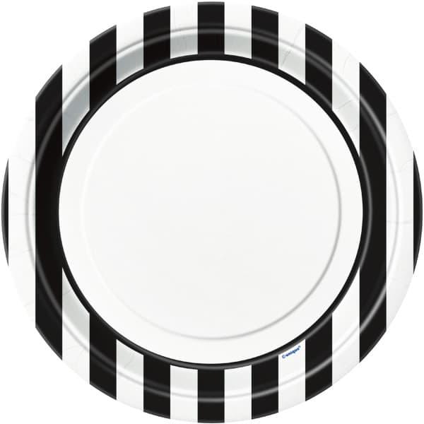 Blanco y Negro Rayas Temática 23cm Plato de Papel - Unidad