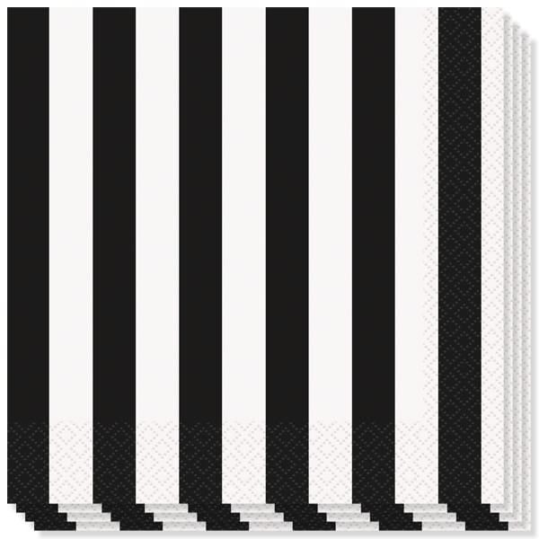 Blanco y Negro Rayas Temática Servilletas de Almuerzo - 2capas - 33cm - Pack de 16