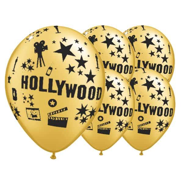 Globos de látex dorados con tema de Hollywood de 12 pulgadas