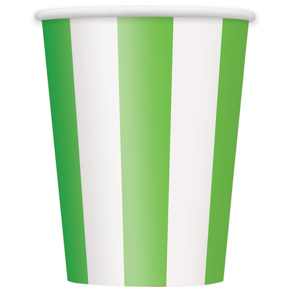 Vasos De Papel Rayas Verdes Y Blancas 354Ml - Paquete De 6