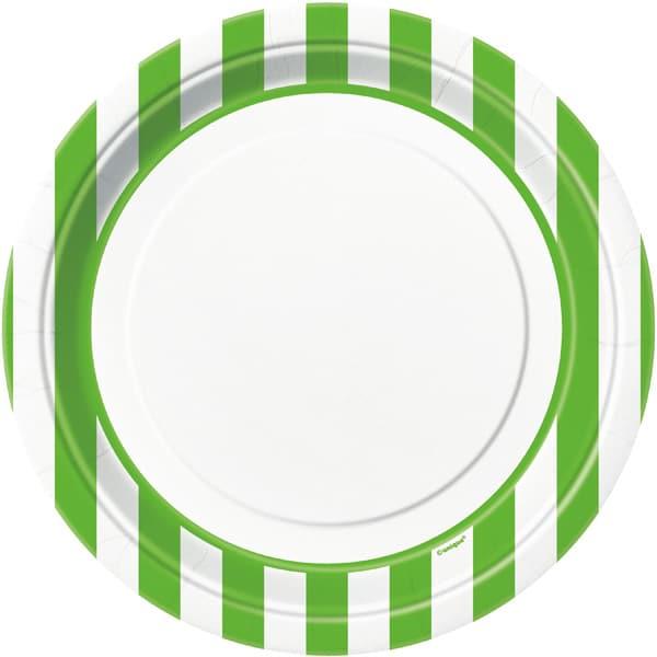 Platos De Papel Rayas Verdes Y Blancas 22Cm - Paquete De 8