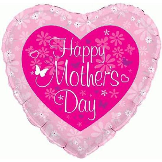 Día de Madres Feliz Globo Foil Corazón Formado Mariposa