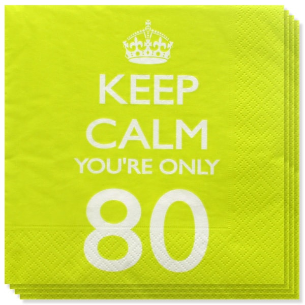 Keep Calm Tema Edad 80 Servilletas de Papel - Pack de 20