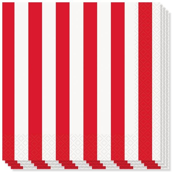 Rojo y Blanco Rayas Temática Servilletas de Almuerzo - 2capas - 33cm - Pack de 16