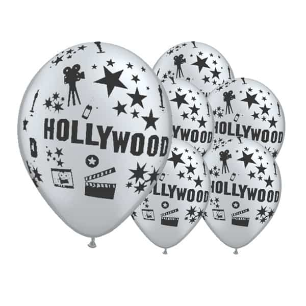 Globos de latex plateados con tema de Hollywood de 12 pulgadas