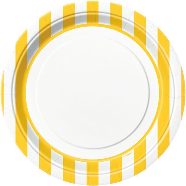 Platos De Papel Rayas Amarillas Y Blancas 22Cm - Paquete De 8