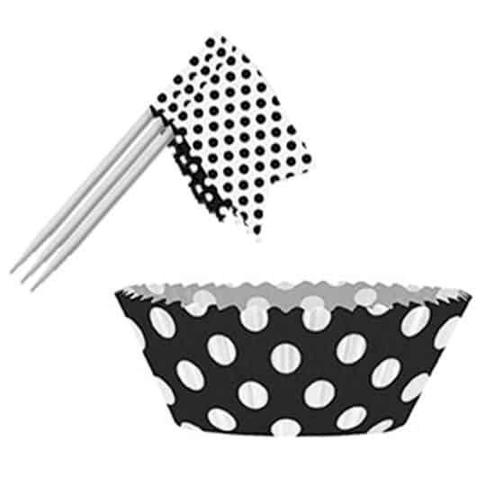 Negro Medianoche Puntos Decorativos Cupcake Decorations Kit - Pack de 24