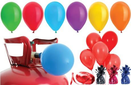 Paquetes de helio con globos de color liso