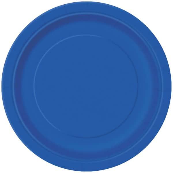 Platos De Papel Redondos Azul Royal 22Cm - Paquete De 16