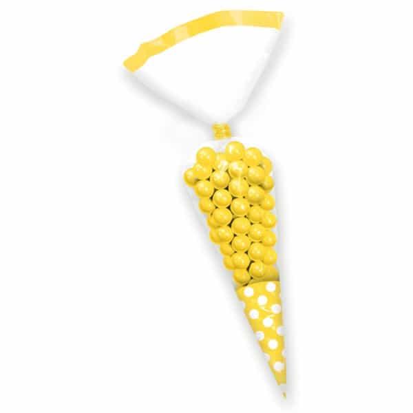 Cono Amarillo Lunares Bolsas de Regalo - Pack de 10