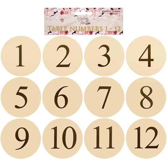 Marfil Ronda Tarjeta de la Tabla Números - Pack de 12