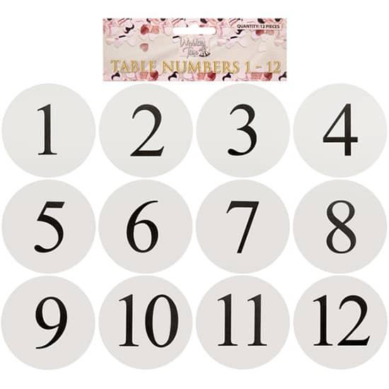 Ronda de Blanco Tarjeta de la Tabla Números - Pack de12