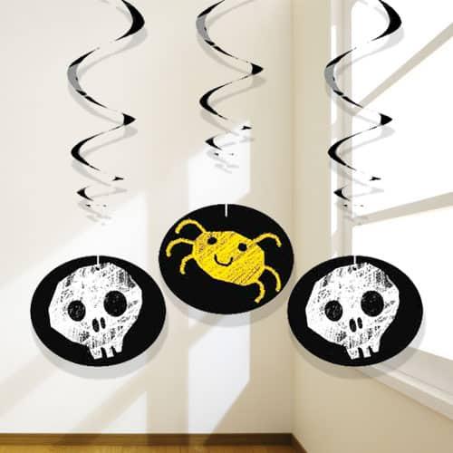 Halloween A Cuadros Colgando Decoraciones De Remolinos - Paquete De 3