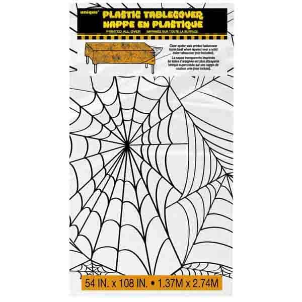 Mantel De Plástico Transparente De Tela De Araña De Halloween 274Cm X 137Cm