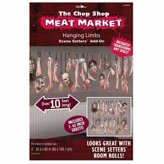 The Chop Shop Mercado De Carne Colgando Extremidades Telón De Fondo Escena Setter Complementos