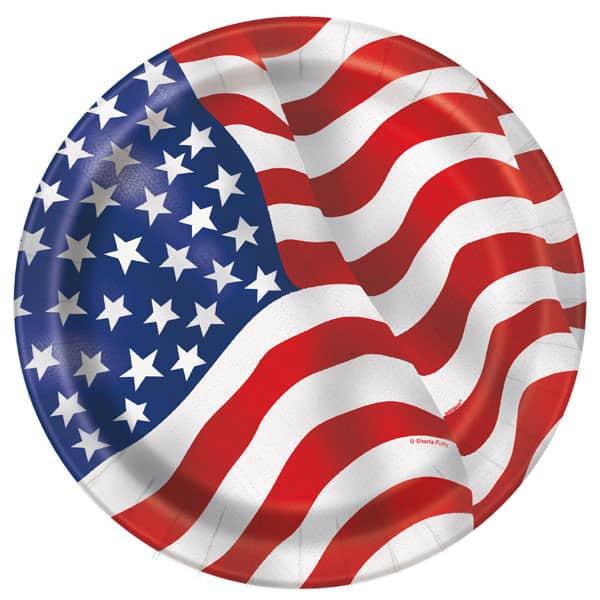 Platos De Papel Redondos Bandera Americana 22Cm - Paquete De 8