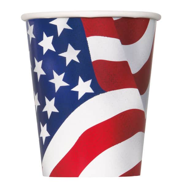 Bandera Americana Taza De Papel 266 Ml