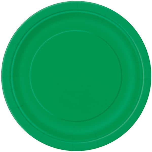 Plato Redondo De Papel Verde Esmeralda 22Cm