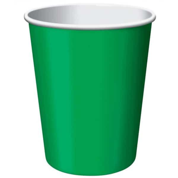 Vasos De Papel Verde Esmeralda 270Ml - Paquete De 14