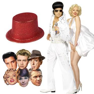 Máscaras de Hollywood, sombreros y disfraces