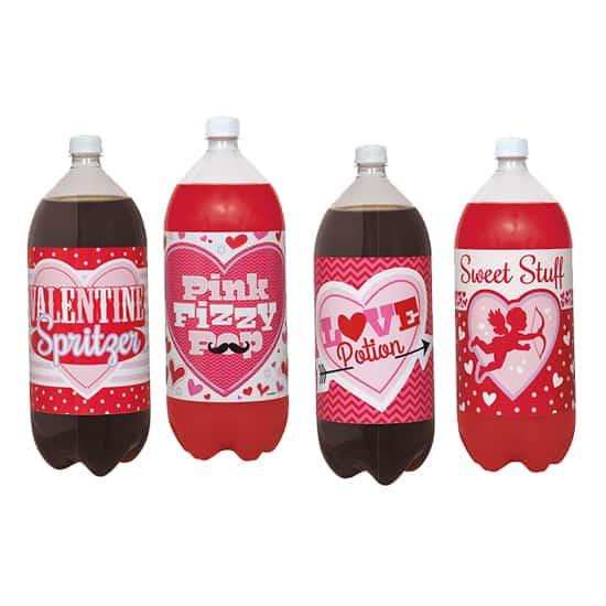 Valentines 2 Litre Etiquetas de la botella - Paquete de 4
