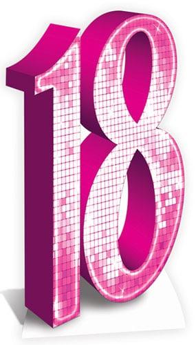 Recorte De Cartón Rosa Tamaño Número 18 - 176 Cm