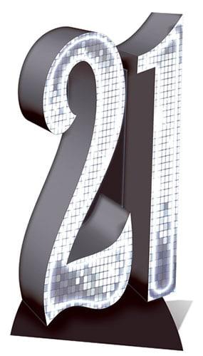 Número De Plata 21 Recorte De Cartón De Tamaño Natural - 185 Cm