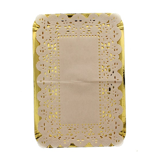 Peque??os oro Platters papel con tapetitos - 8,5 pulgadas / 21.5cm - Paquete de 4