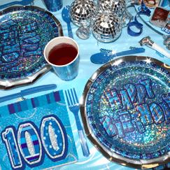 Azul Glitz 100 ° cumpleaños