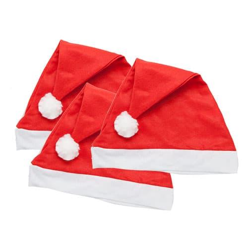 Sombrero De Santa De Navidad Liso - Paquete De 3