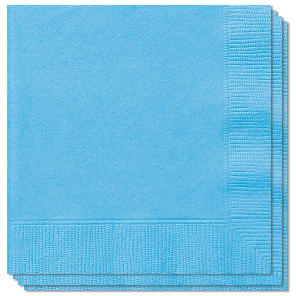 Servilletas De 2 Capas Azul Polvo - 13 Pulgadas / 33 Cm - Paquete De 20