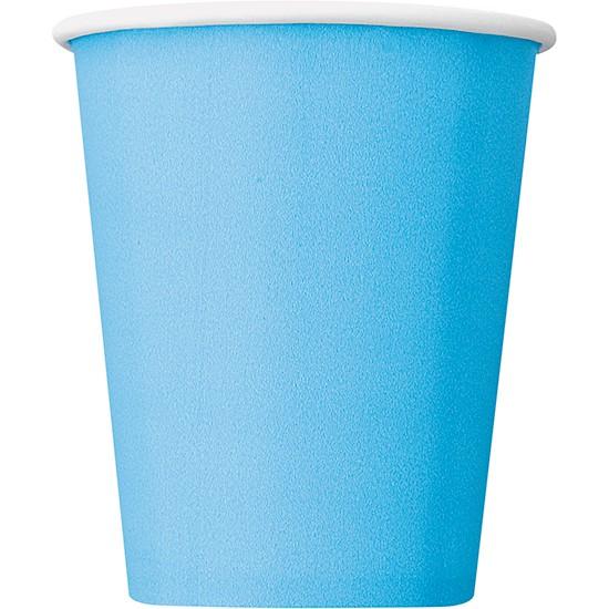 Vasos De Papel Azul Claro 270Ml - Paquete De 14